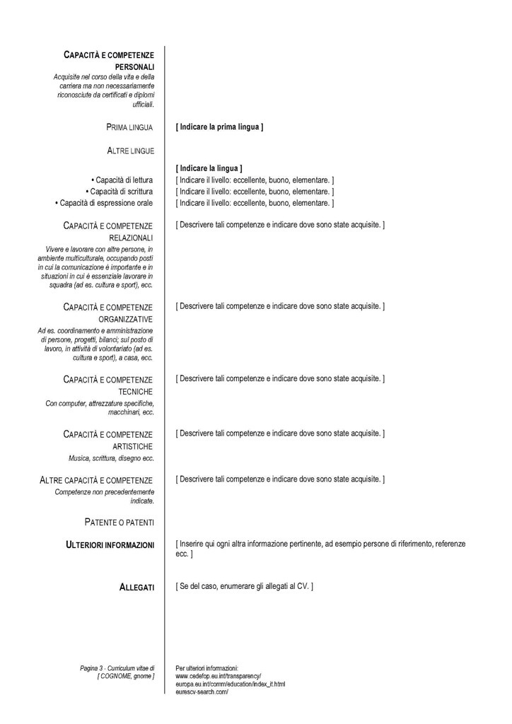 Esempio Curriculum Vitae Europeo Neolaureato Biblioteca